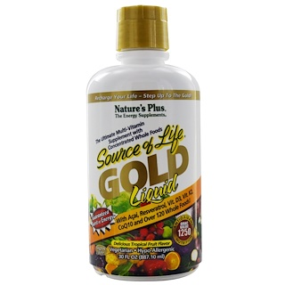 Nature's Plus, Source of Life, Gold Liquid, Delicious Tropical Fruit Flavor, 30 fl oz (887.10 ml)