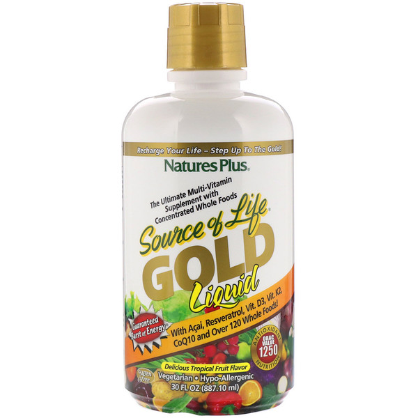 Source of Life, Gold Liquid, Delicious Tropical Fruit Flavor, 30 fl oz (887.10 ml)