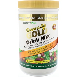 Nature's Plus, Source of Life Gold Drink Mix، نكهة الفاكهة الاستوائية اللذيذة، 1.2 رطل (540 غرام)