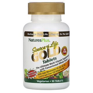 Nature's Plus, SourceofLifeGold, El mejor suplemento multivitamínico, 90comprimidos