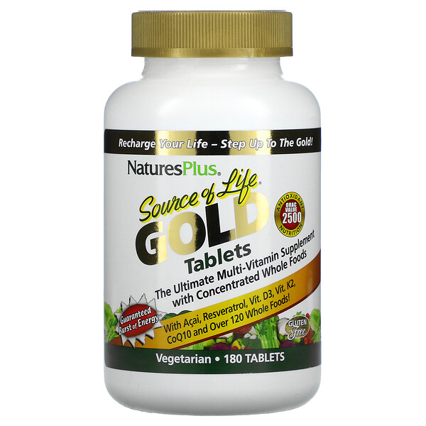 Nature's Plus, Source Of Life Gold Tablets, Ultimate Multi-Vitamin Supplement, 180 Tablets