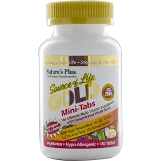 Nature's Plus, Source of Life, Gold, Mini-tablettes, le complément multivitaminé ultime, 180 tablettes