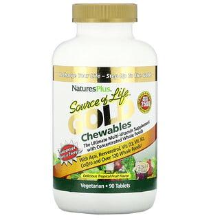 Nature's Plus, Source of Life, золотые жевательные таблетки с замечательным вкусом тропических фруктов, 90 таблеток