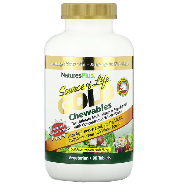 Nature's Plus, Source of Life, Gold Chewables, Delicious Tropical Fruit Flavor, 90 Tablets