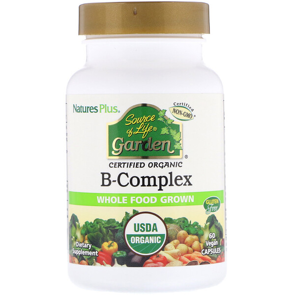 Source of Life Garden, Certified Organic B-Complex, 60 Vegan Capsules