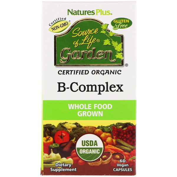 Source of Life Garden, Certified Organic B-Complex, 60 Vegan Capsules