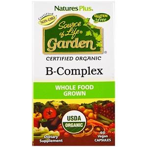 Nature's Plus, Source of Life Garden, Органический комплекс витаминов группы В, 60 капсул в растительной оболочке