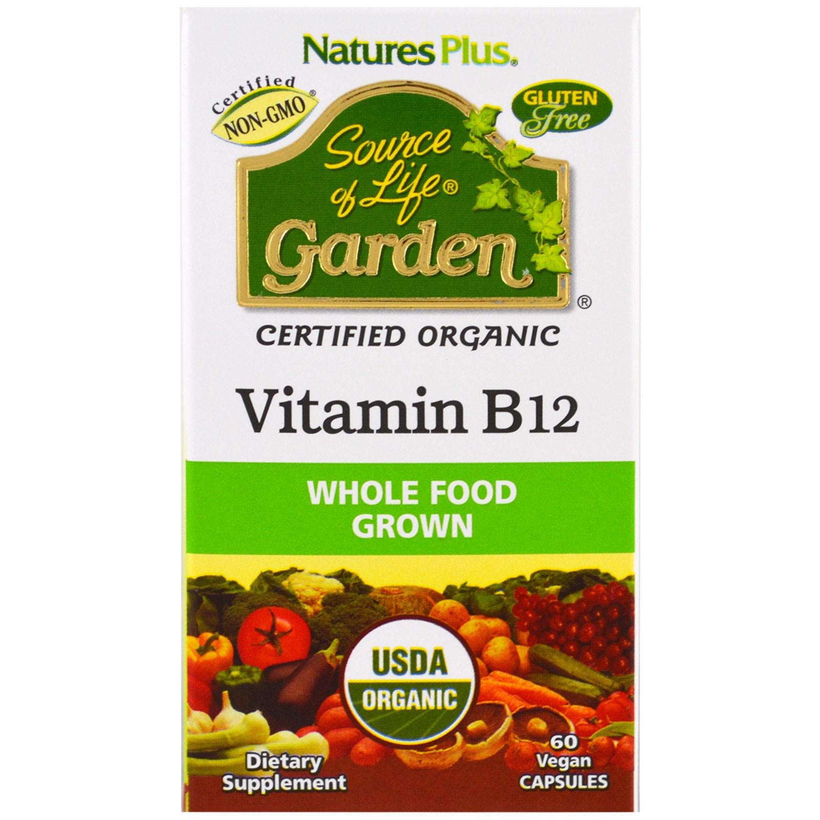 Nature's Plus, Источник жизни Сад, Органический витамин B12, 60 вегетарианских капсул