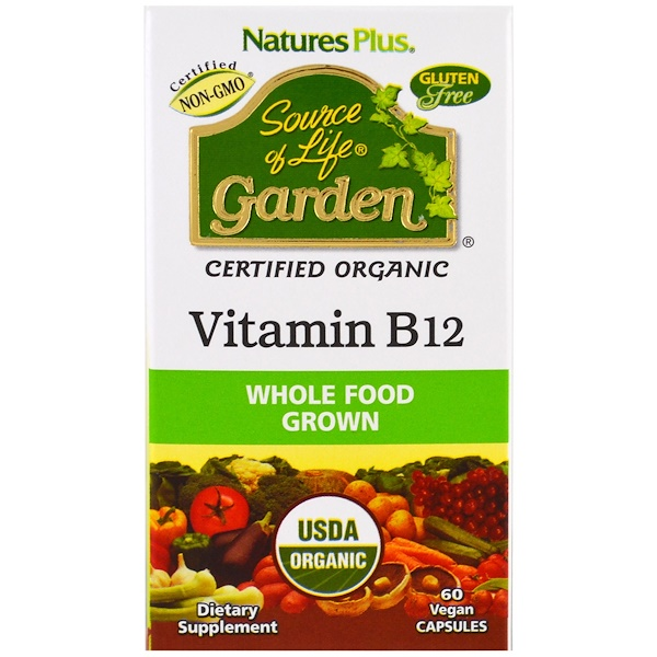 Nature's Plus, Source of Life,花園有機維生素B12,60粒素食膠囊