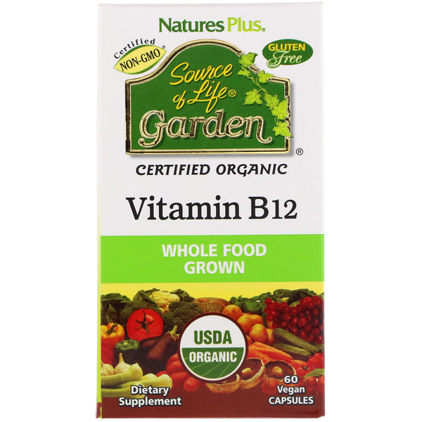 Nature's Plus, Source of Life Garden, Certified Organic Vitamin B12, 60 Vegan Capsules