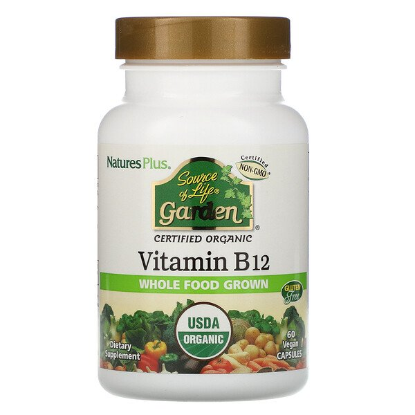 Source of Life Garden, Certified Organic Vitamin B12, 60 Vegan Capsules