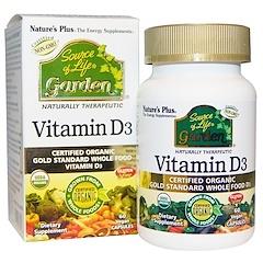 Nature's Plus, Source of Life, Garden, vitamine D3, 60 gélules végétales.