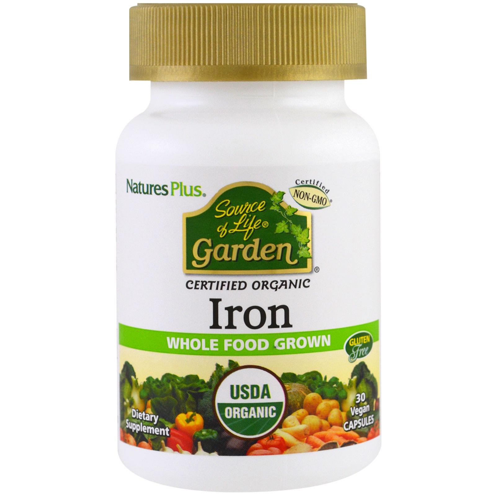 Nature\'s Plus, Jardín fuente de vida, hierro, 30 cápsulas veganas ...