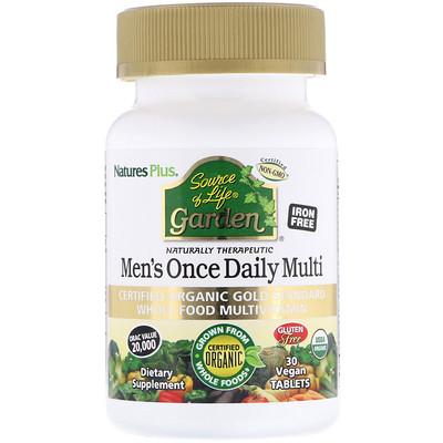 Купить Source of Life Garden, мультивитамины для мужчин для приема один раз в день, 30 веганских таблеток