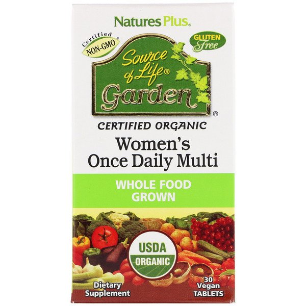 Nature's Plus, Source of Life Garden, multivitamínico uno diario para mujeres, 30 tabletas veganas