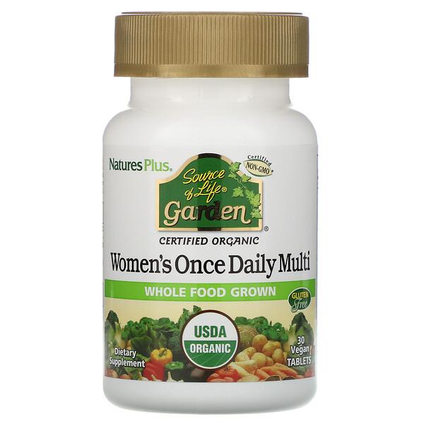 Source of Life Garden, мультивитамины для женщин для приема один раз в день, 30 веганских таблеток