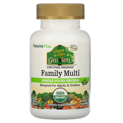 Купить Nature's Plus Source of Life, Garden, Organic Family Multi, Mixed Berry Flavor, 60 Vegan Chewables