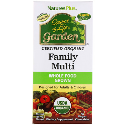 Source of Life, Garden, Organic Family Multi, Mixed Berry Flavor, 60 Vegan Chewables