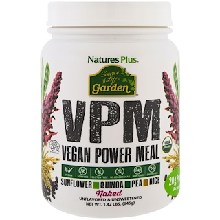 Nature's Plus, Source of Life Garden, VPM Vegan Power Meal, Naked, 1.42 lbs (645 g)