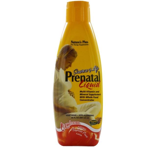 Nature's Plus, Source of Life, Prenatal Liquid, Natural Tropical Fruit Flavor, 30 fl oz (887.10 ml)