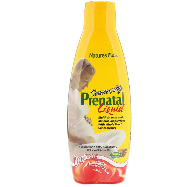 Nature's Plus, Source of Life, Prenatal Liquid, Natural Tropical Fruit Flavor, 30 fl oz (887.10 ml)
