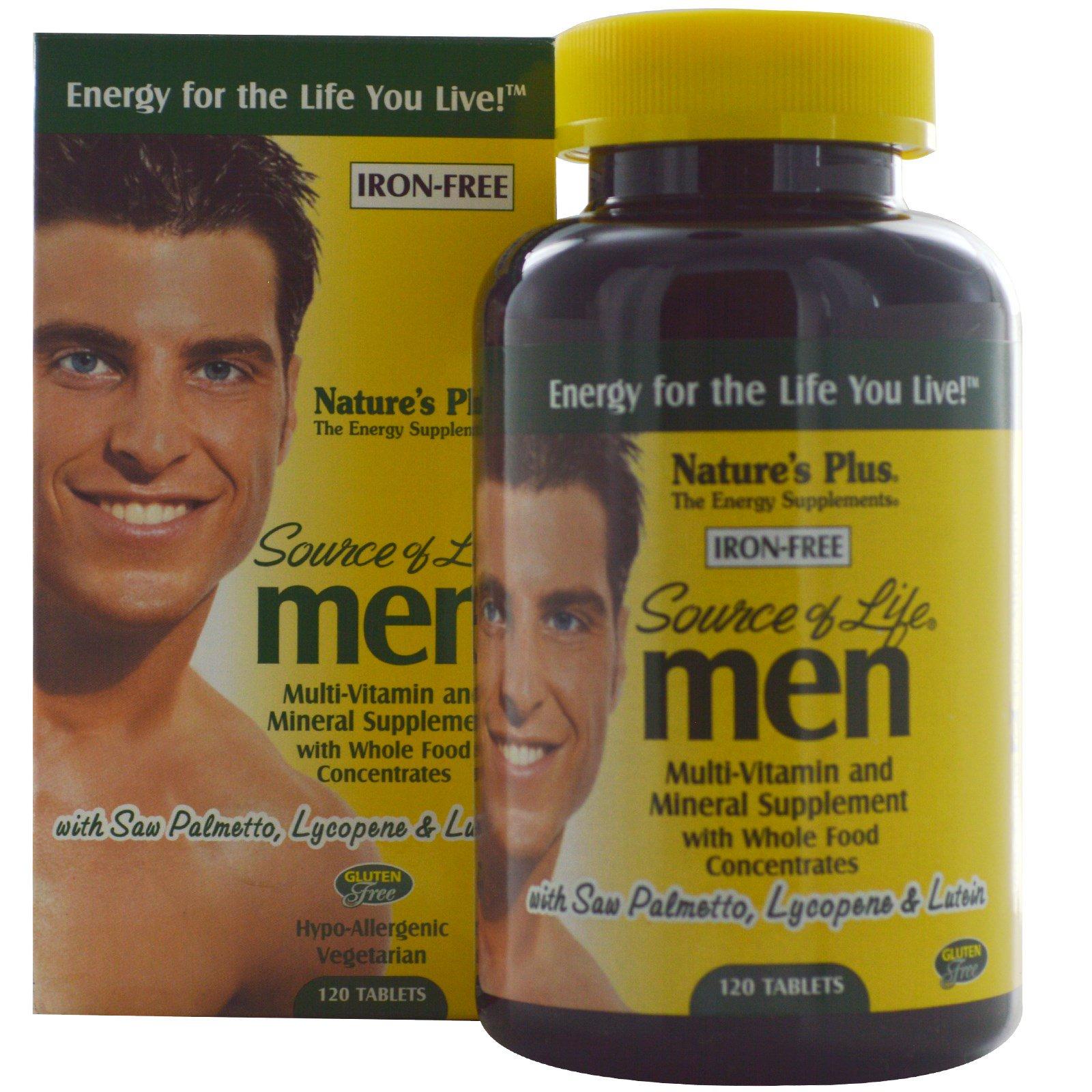 Nature's Plus, Source of Life, Мультивитамины и минералы для мужчин, без железа 120 таблеток