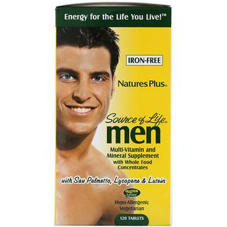 Nature's Plus, ソースオブライフ、男性用、濃縮自然食品マルチビタミンとミネラルサプリメント、鉄分無し、120錠