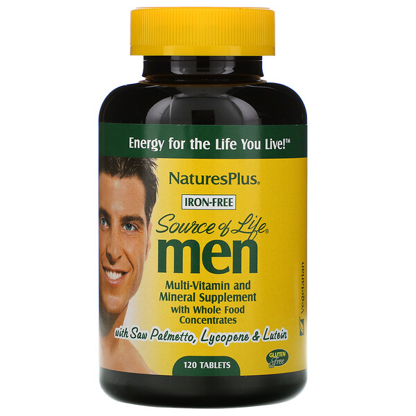Source of Life, Men, Multi-Vitamin and Mineral Supplement with Whole Food Concentrates, Iron-Free, 120 Tablets