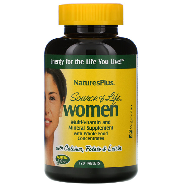 Nature's Plus, Source of Life, Mujeres, suplemento multivitamínico y mineral con concentrados de alimentos integrales, 120 tabletas