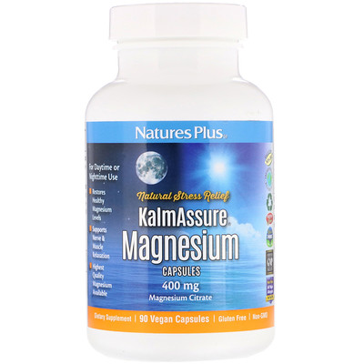 Купить Nature's Plus Kalmassure, магний, 400 мг, 90 веганских капсул