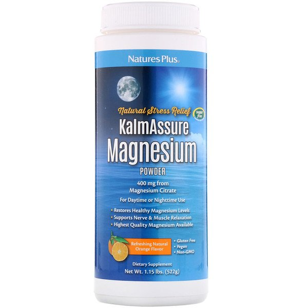 Kalmassure, Magnesium Powder, Orange Flavor, 400 mg, 1.15 lbs (522 g)