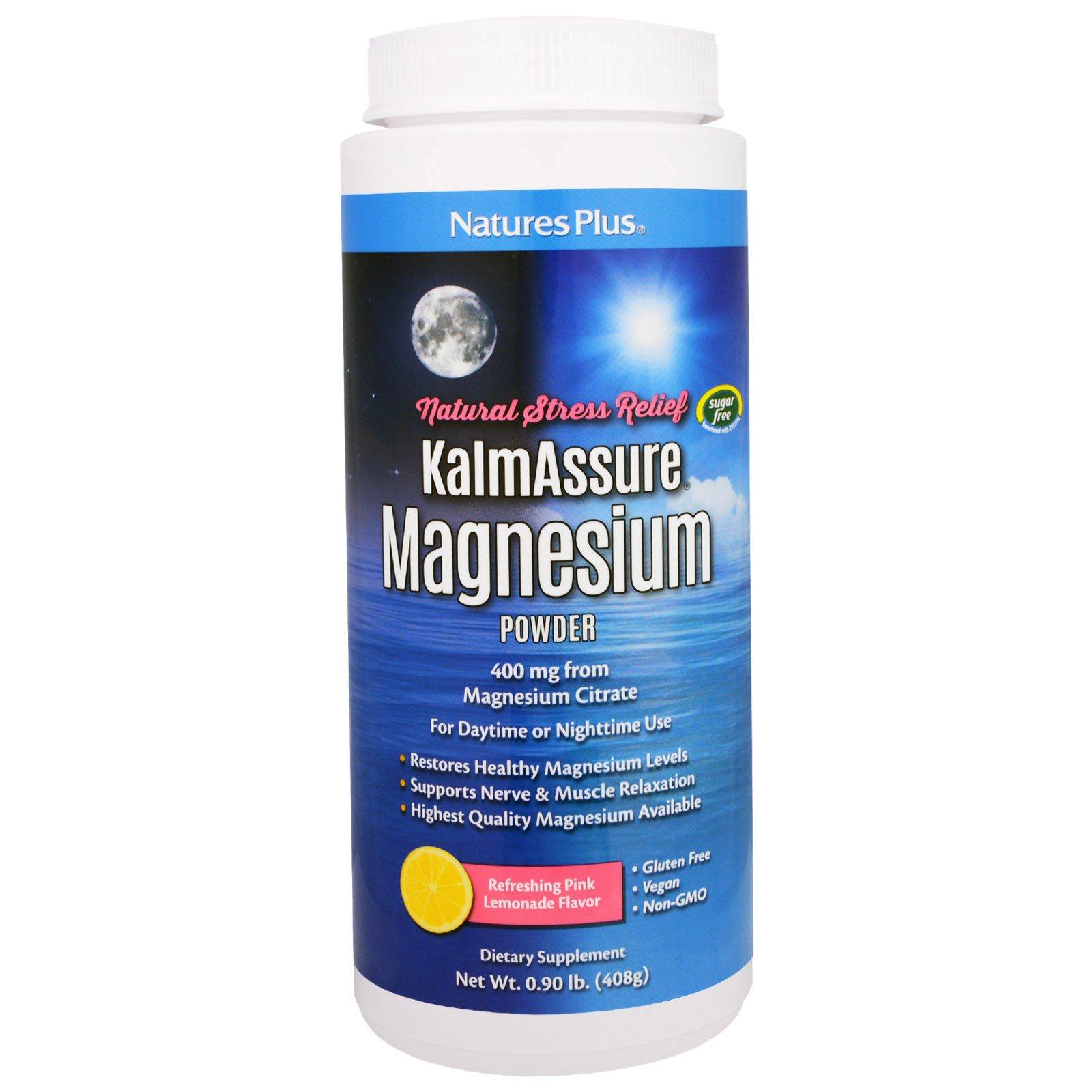 Nature's Plus, Kalmassure, Порошок Цитрата Магния, Розовый Лимонад, 400 мг, 0,90 фунта (408 г)