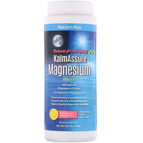 Kalmassure Magnesium Powder, Refreshing Pink Lemonade, 400 mg, 0.90 lb. (408 g)
