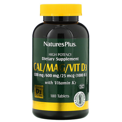 Natures Plus Кальций, магний и витамин D3, с витамином K2, 180 таблеток