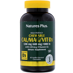 Nature's Plus, Cal/Mag/Vit D3, Vanilla Flavored, 60 Chewables