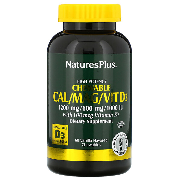 Nature's Plus, High Potency Cal/Mag/Vit D3, Vanilla Flavored, 60 Chewables