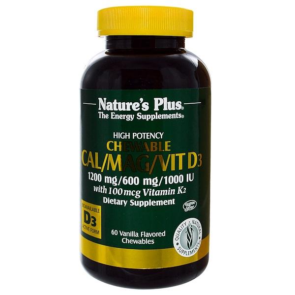 Nature's Plus, Cal/Mag/Vit D3, Vanilla Flavored, 60 Chewables