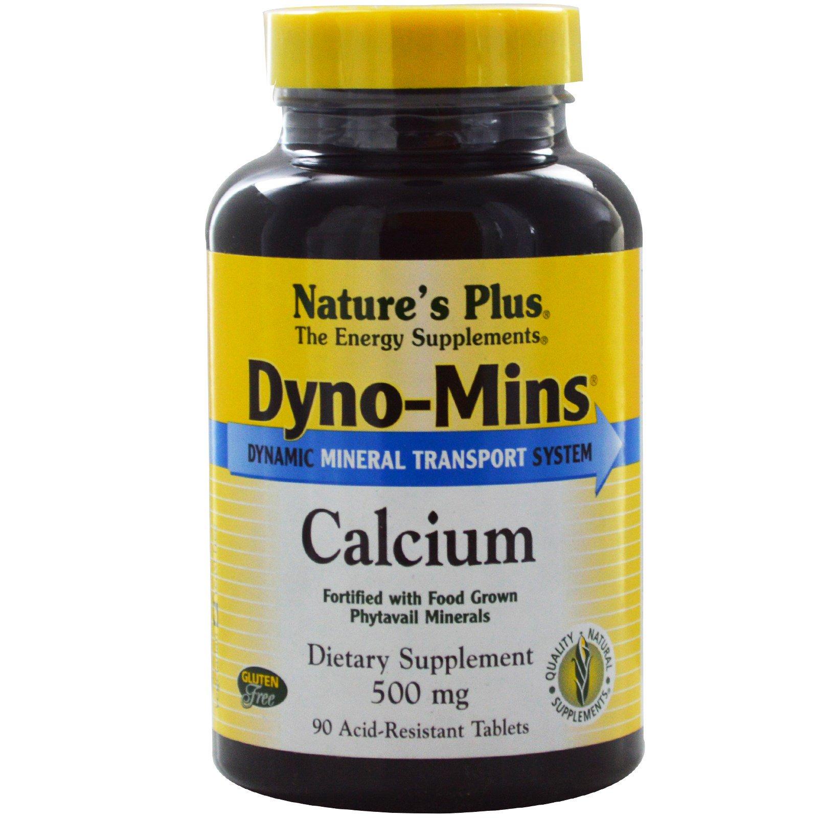 "Nature's Plus, ""Дино-Минc"", кальций, 500 мг, 90 устойчивых к кислоте таблеток"