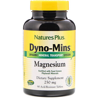 Nature's Plus, Dyno-Mins, Magnesium, 250 mg, 90 Acid-Resistant Tablets