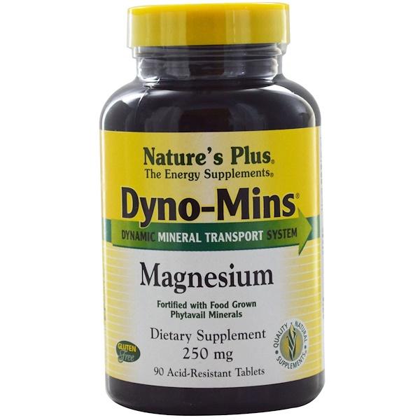 Nature's Plus, Dyno-Mins, Magnesium, 250 mg, 90 Acid-Resistant Tablets