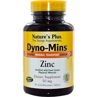 Nature's Plus, Dyno-Mins, цинк, 50 мг, 90-кислотоустойчивых таблеток