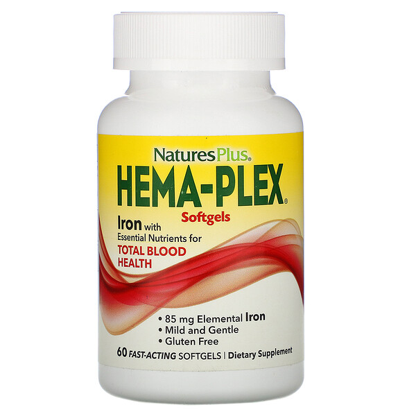 Nature's Plus, Hema-Plex, 60 Fast-Acting Softgels