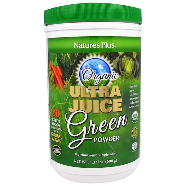 Nature's Plus, 有機超級果汁綠色粉,1、32磅(600克)