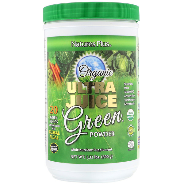 Nature's Plus, Organic Ultra Juice Green Powder, 1.32 lbs (600 g) (Discontinued Item)