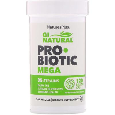 Купить Nature's Plus GI Natural, Probiotic Mega, пробиотики, 120млрд КОЕ, 30капсул