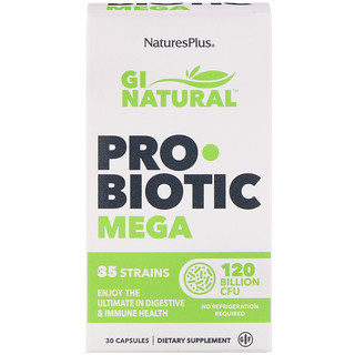 Nature's Plus, GI Natural Probiotic Mega, 120 Billion CFU, 30 Capsules