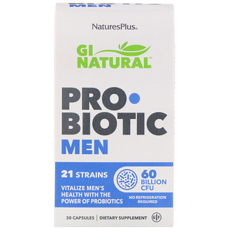Nature's Plus, GI Natural Probiotic Men, 60 Billion CFU, 30 Capsules