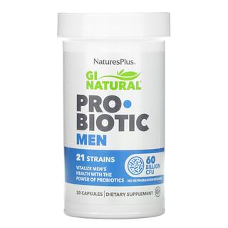 Nature's Plus, GINatural, Probiótico para hombres, 60.000millones de UFC, 30cápsulas