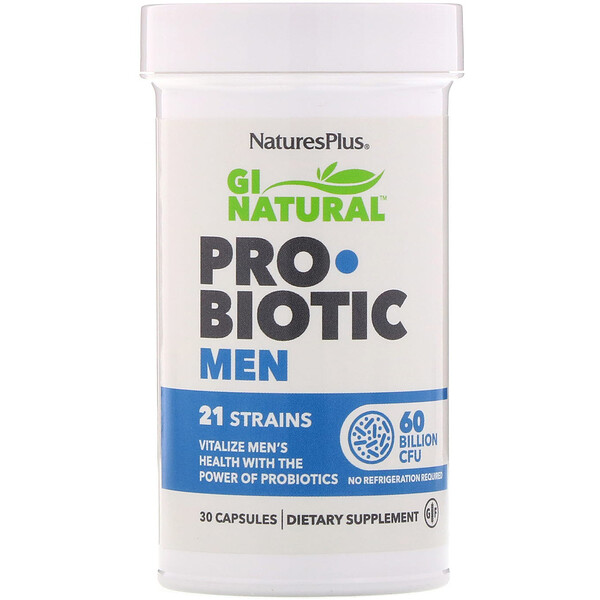 Nature's Plus, GI Natural 男士益生菌,600 億 CFU,30 粒