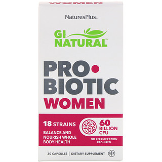 Nature's Plus, GI Natural Probiotic Women, 60 Billion CFU, 30 Capsules